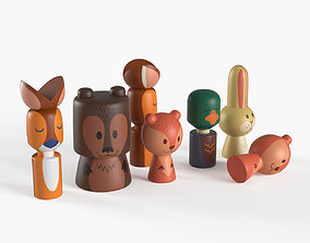 Wooden forest toy animals 3D model