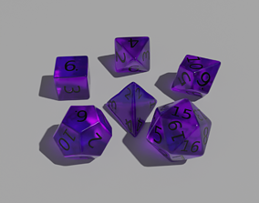 Purple Clear Dice 3D model