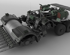 3D Sci Fi vehicle Armed Road roller