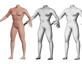 3D Character 16 High and Low-poly - Body male