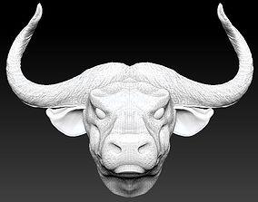 3D printable model horned bull head