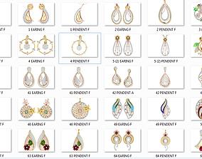 37 women pendant earrings set 3dm stl render detail