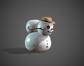 Snowman 3D asset low-poly gingerbread