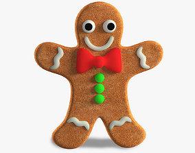 3D model low-poly Gingerbread Man