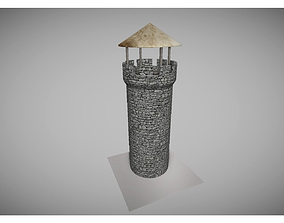3D asset low poly old tower