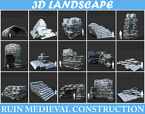 Low poly Snow Ruin Medieval Construction 3D asset
