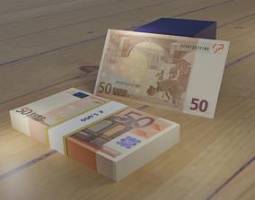 50 euro stack of 101 bills 3D model