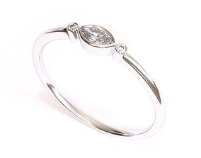 3D print model Delicate Three Diamond ring with Marquise