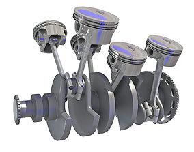 Animated V6 Engine Cylinders 3D