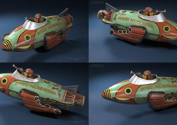 Buck Rogers tin toy model render
