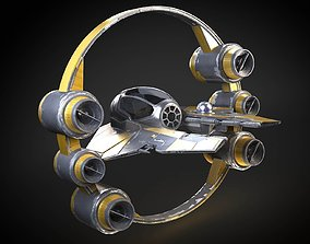 3D Jedi Starfighter Eta-2 with Hyperdrive Booster Ring