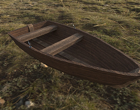 3D asset Wooden Row Boat