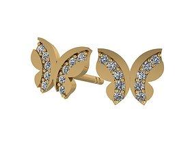 earrings 3D print model Butterfly earring