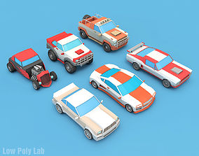 Cartoon Racing City Cars Pack 3D model