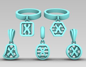 3D printable model Initial letter charm with 5