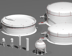Industrial tanks 3D tower