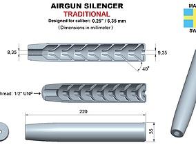 3D print model Airgun silencer traditional caliber 25