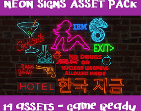 Neon Signs p1 - 14 Assets - Game Ready 3D model