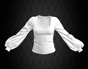 3D marvelous Bishop Blouse White