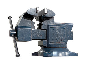 3D model Old Damaged Tool Vise AAA Game Ready Asset