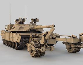 3D model M1A2 Abrams with Mine Trawl