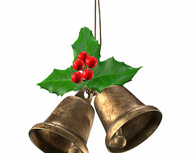 PBR Holly berries with vintage christmas brass bells PBR 1