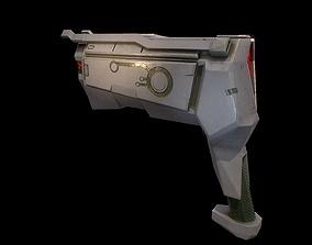 3D asset Low poly sci fi Thunder pistol weapon model