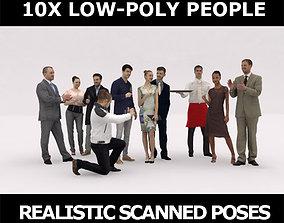 10x LOW POLY ELEGANT CASUAL PEOPLE VOL01 CROWD 3D model