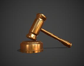 Golden Judge Hammer 3D asset