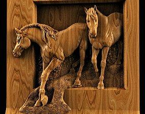 Two horses relief STL 3D Model STL relief for CNC Artcam