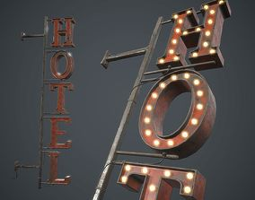 3D model Old Metal Hotel Sign PBR Game Ready
