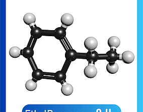 Ethylbenzene 3D Model C8H10 ethylbenzene