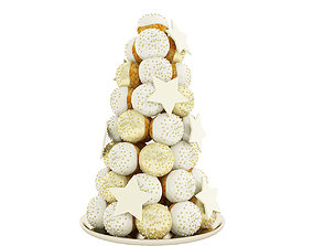 Cream puff tower with stars 3D