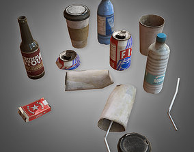 3D model Trash Set 1 - PBR Game Ready