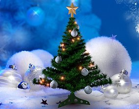 Christmas tree 3D model animated