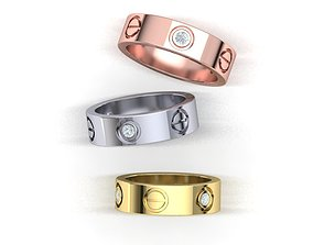 Classic Wedding band 5 rings 3dmodel