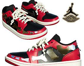 DINO 2 Air Jordan 1 RAZOR LOW Shoes PBR 3D asset