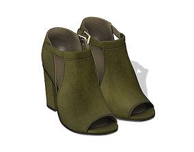 Olive Green Peep Toe Boots 3D asset