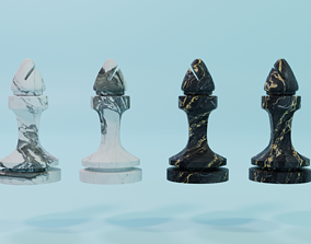 3D marble chess set