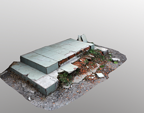 3D asset Old Abandoned Staircase Porch