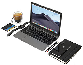 3D model Notebook and stuf workplace