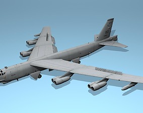 3D model Boeing B52 Stratofortress USAF military aircraft