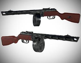 VR / AR ready PPSH 41 Machine Gun 3D Model - WWII