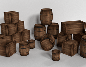 Barrels and crates 3D model