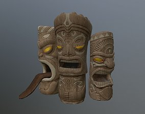 3D asset Hawaiian Tiki Statues 3 Piece Set