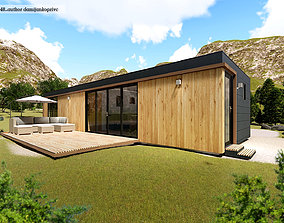 modern mobile home tiny house vacation house 3D model 3