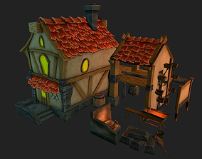 3D model low-poly house lowpoly