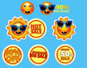 3D model Animated Cartoon Logo Summer Sun