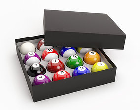 Pool Balls In Paper Box 3D