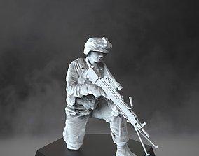US Marine with light machine gun - USMC 3D print model